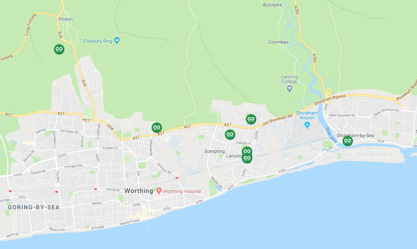 Google map of where Recycling in Lancing pick up points are