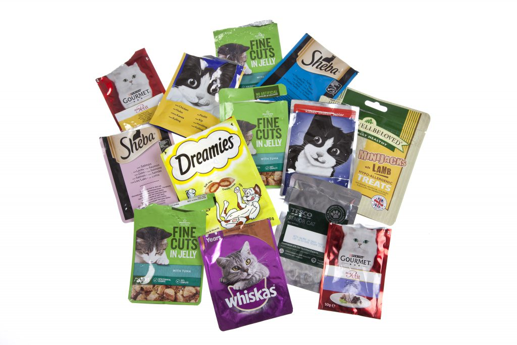 empty, rinsed and dried pet food pouches